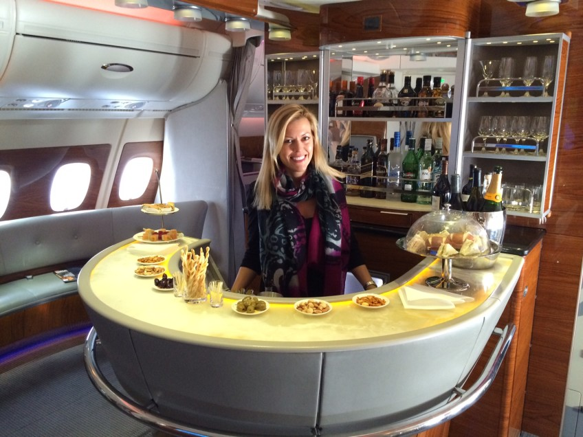 On-board bar on the Airbus A380-800. More champagne?