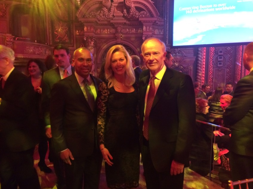 Massachusetts Governor, Deval Patrick, Tiffany Dowd and CEO of Emirates, Sir Tim Clark.