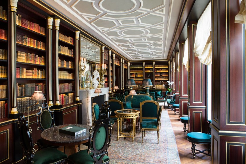 Library at La Reserve Paris